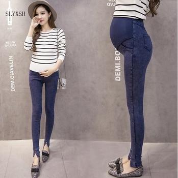 cc1558755 SLYXSH cintura elástica maternidad pantalones vaqueros para el embarazo ropa  Primavera Verano 2017 nuevas mujeres embarazadas pantalones maternidad  talla ...