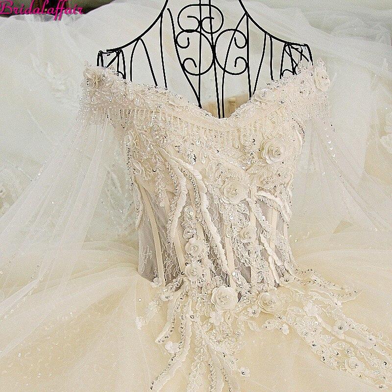 Image réelle De luxe robes De mariée 2019 Vsetido De Novia cristaux dentelle robes De mariée perles Appliques Royal Train robes De mariée