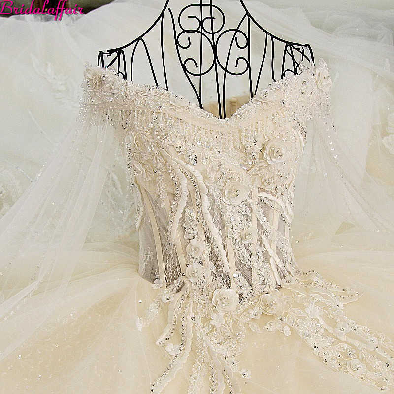 Real Image Luxury Wedding Dresses 2019 Vsetido De Novia Crystals Lace Wedding Dresses Beading Appliques Royal Train Bridal Gowns-in Wedding Dresses from Weddings & Events