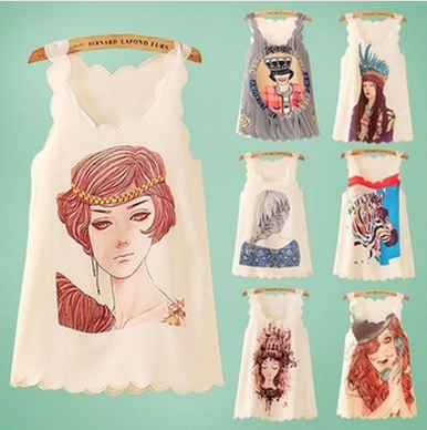 New Arrival 2014 Summer Printed Character Tank Tops White Different