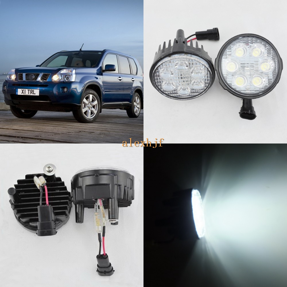 ФОТО July King 18W 6LEDs H11 LED Fog Lamp Assembly Case for Nissan X-trail 2007~2013, 6500K 1260LM LED Daytime Running Lights