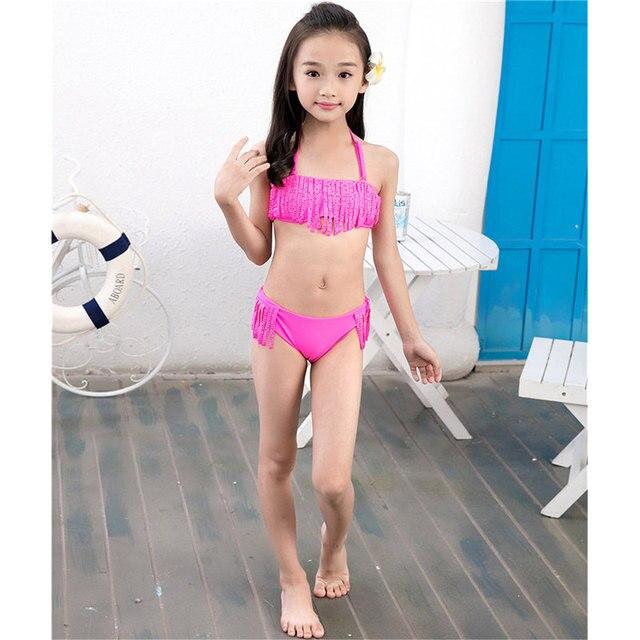 Nylon Spandex Bambini Dello Swimwear Delle Ragazze Bikini Spaccato ...