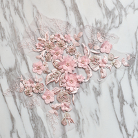 Pink beaded flower embroidery patch lace fabric applique Sewing wedding Bride Dress veil craft garment accessories decoration