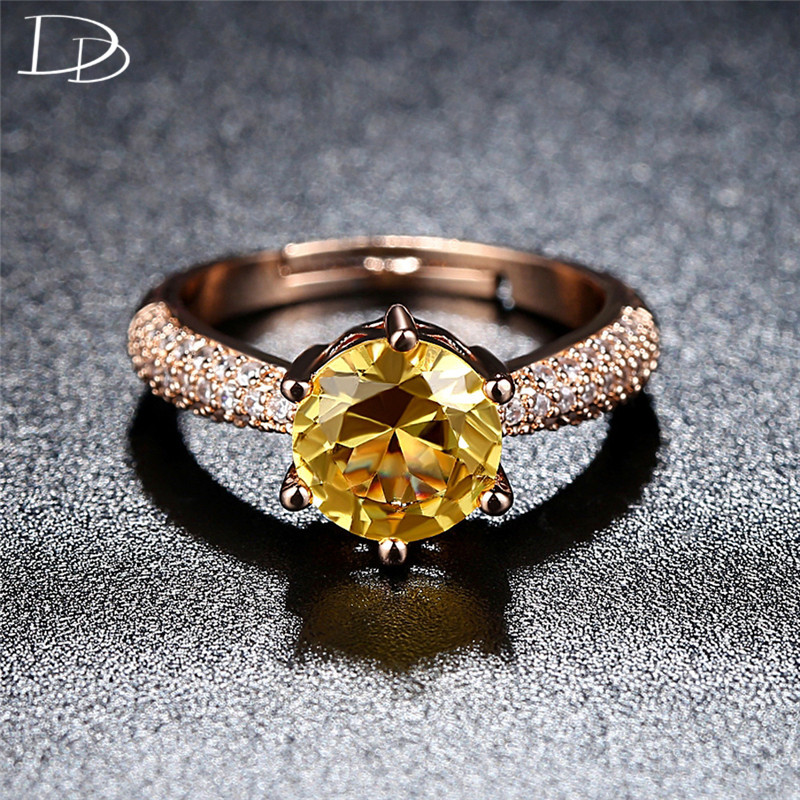 DODO Bright 8mm Round Yellow Austrian Crystal Rings For Women Fashion Rose Gold Color Engagement Jewelry Drop Shipping R393
