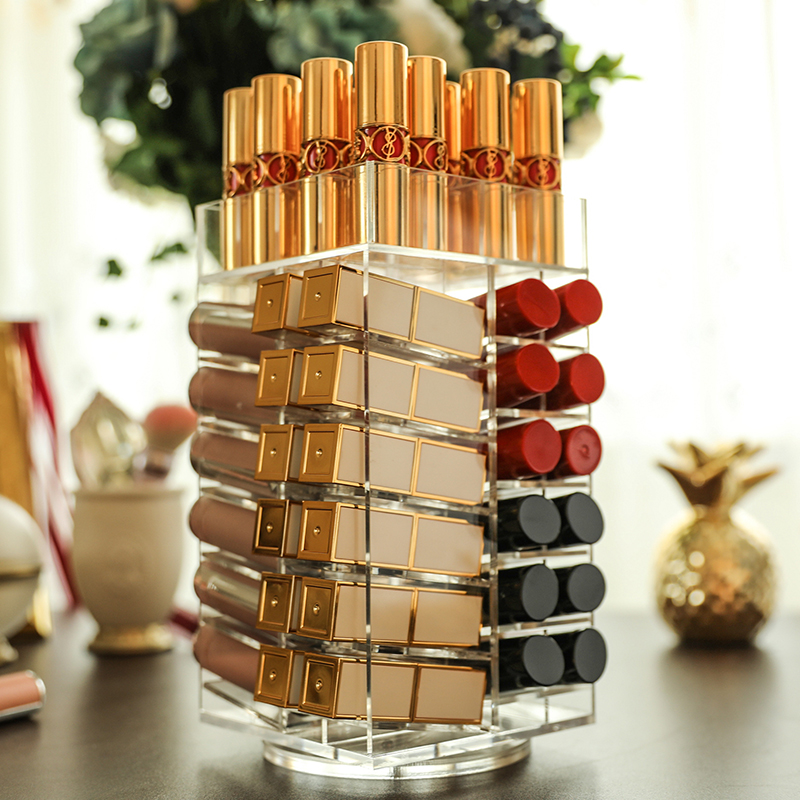 64 Lattices Acrylic Lipstick Organizer 360 Degree Rotated Rack Lipstick Tower Makeup Storage Organizer Nail Polish