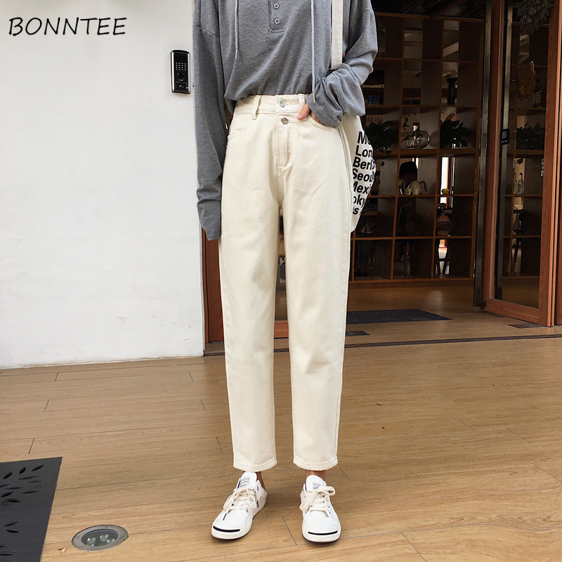 Jeans Women Spring 2019 New Students Women's High-waist Loose High-quality Korean Style Solid Simple Daily Elegant Lovely Ladies