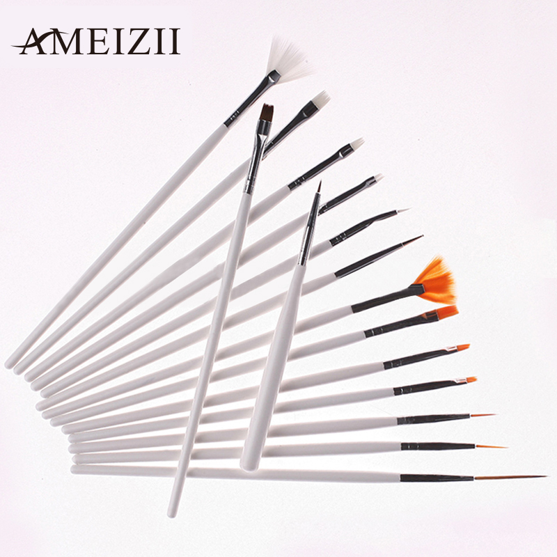 Nail art brushes set 7 15pcs white decorations gel for Avon nail decoration brush