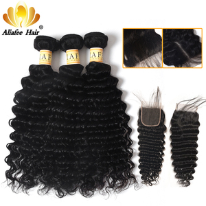 AliAfee Brazilian Deep Wave Bundles With Closure 100% Human Hair Extension 3 Bundles Deal Non Remy(China)