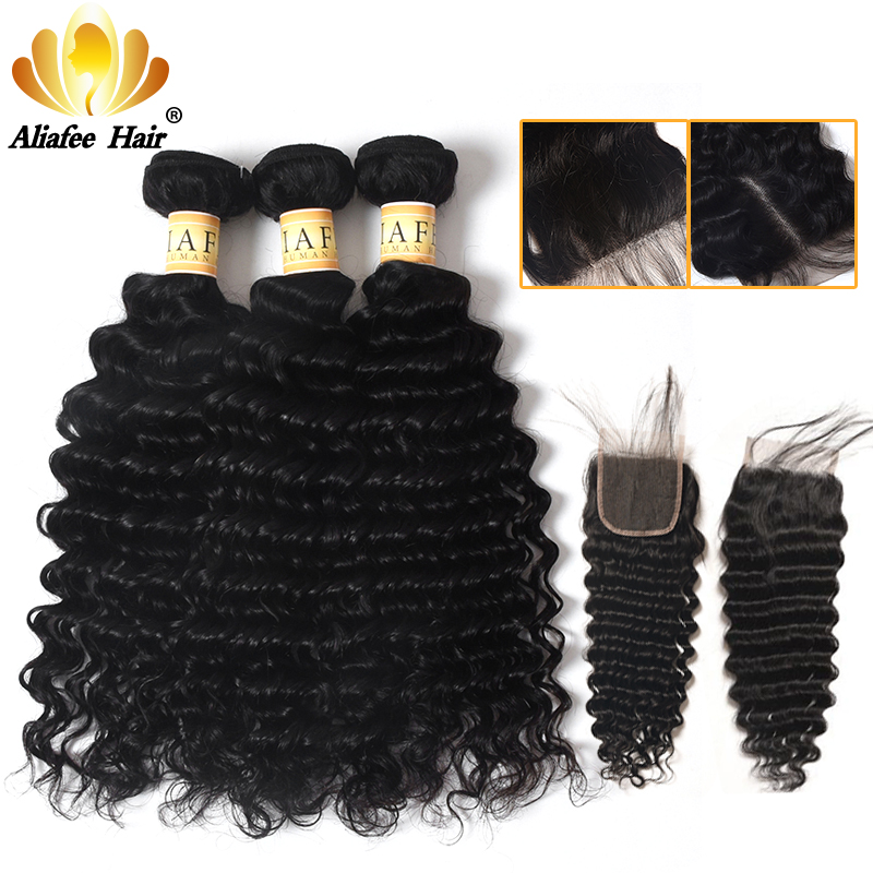 AliAfee Brazilian Deep Wave Bundles With Closure 100% Human Hair Extension 3 Bundles Deal Non Remy