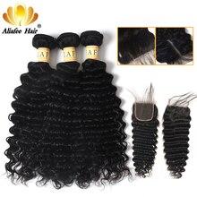 Paquetes de ondas profundas brasileñas AliAfee con cierre extensión de cabello humano 100% 3 paquetes de oferta no Remy