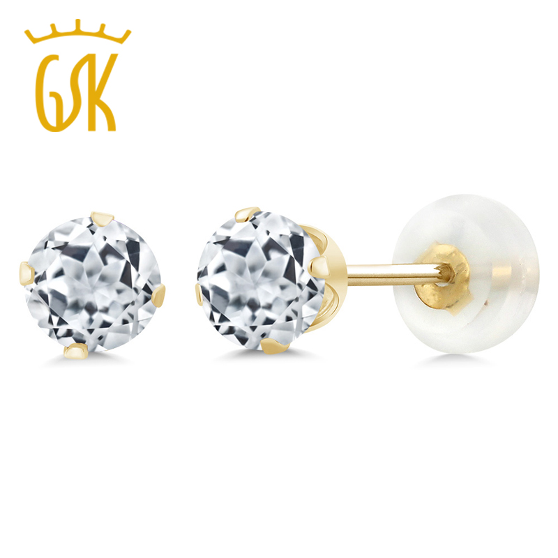 Real 10K Yellow Gold Luxury Vintage Jewelry For Women 1.20 Ct 5mm Round Natural White Topaz Stud Earrings GemStoneKing(China)