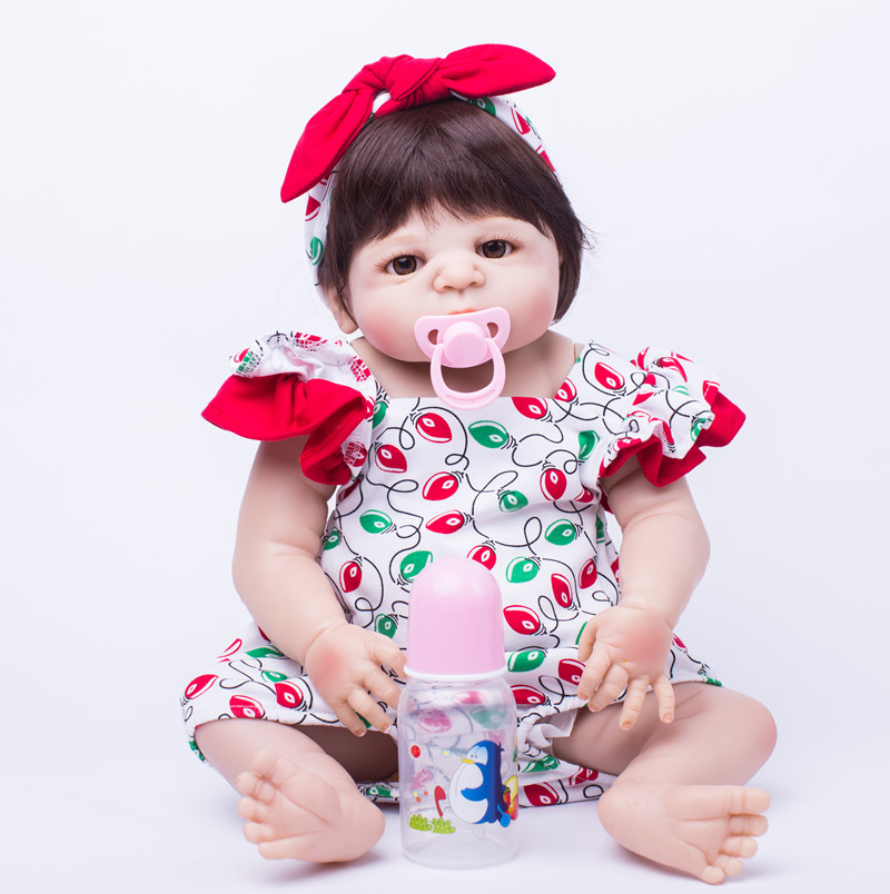 Full Silicone Body Reborn Baby Doll Toys 55cm Princess Newborn Girl Babies Doll Kids Birthday Present Bathe Toy Girls Brinquedos 50cm full silicone body reborn princess babies doll toys newborn baby doll lovely kids birthday gift bathe toy girls brinquedos