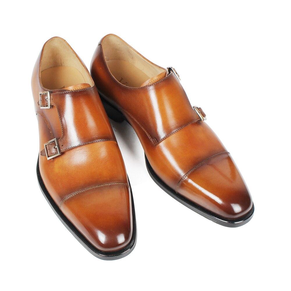 Brun Mariage Double Hommes En Vikeduo Sangle Zapato Chaussures Articles Moine Patine Pleine Cuir Fleur Mesure Hombre Sur De Chaussants Robe Pour Brown 9EHW2DI