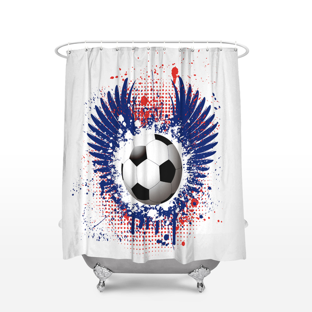 CHARMHOME Fabric Shower Curtain Home Decor Bathroom Accessories Soccer  Football Pattern Waterproof Polyester Bath Curtains