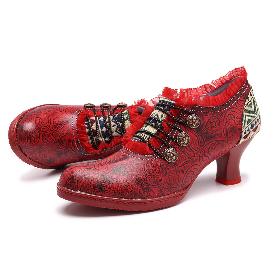 Wine Glasses Women Pumps European Vintage Hand Genuine Leather Shoes Embossed Stitching Spanish Style Four Seasons Women's Shoes (10)