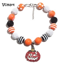 2016 Vintage Chunky Necklace for Kids Children Pumpkin Rhinestone Pendant Vintage Black Orange Bubblegum Beaded Necklace