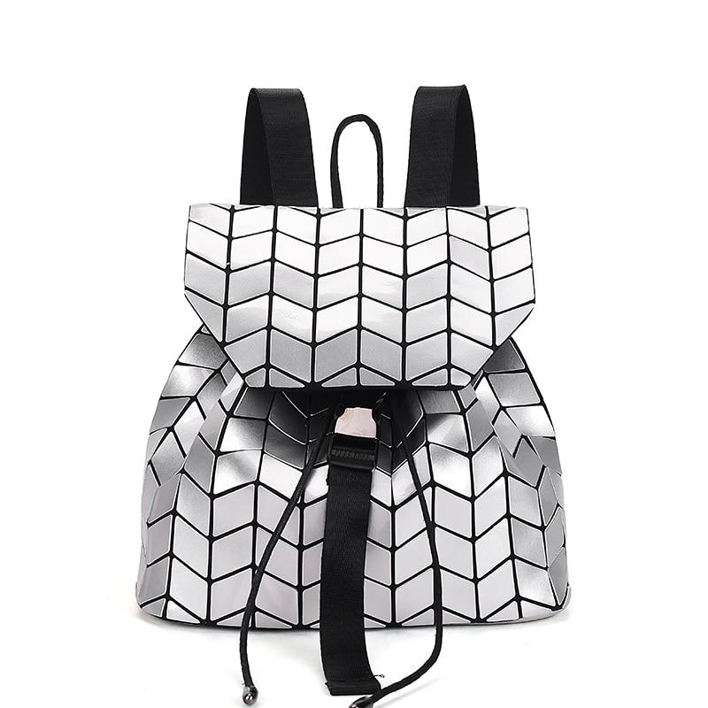 Women Holographic Backpack Feminine Geometric Plaid Sequin Female Backpacks For Teenage Girls Drawstring Bag bao bao