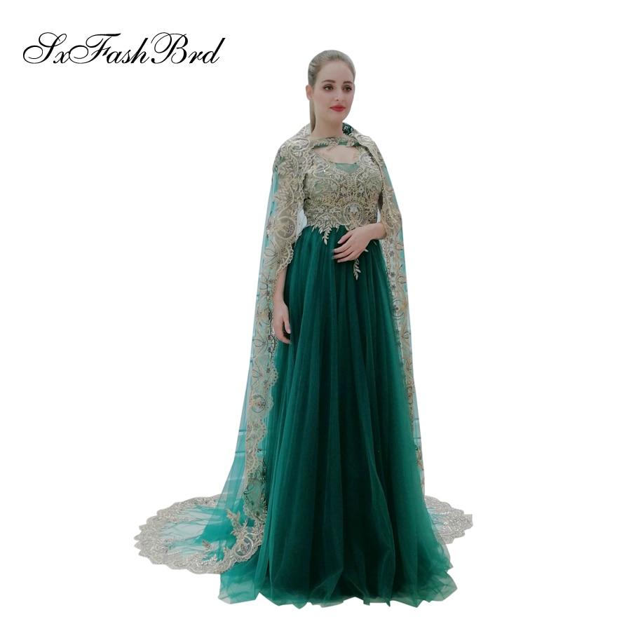 O cou avec Appliques châle une ligne Robe élégante Tulle Longue formelle femmes robes de soirée bal Robe Longue