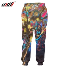 UJWI 2019 Unisex Hip Hop 3D Printed Service Oringial Colorful tree Custom Plus Size Sweatpantss Dropshipping plus size galaxy tree printed hoodie