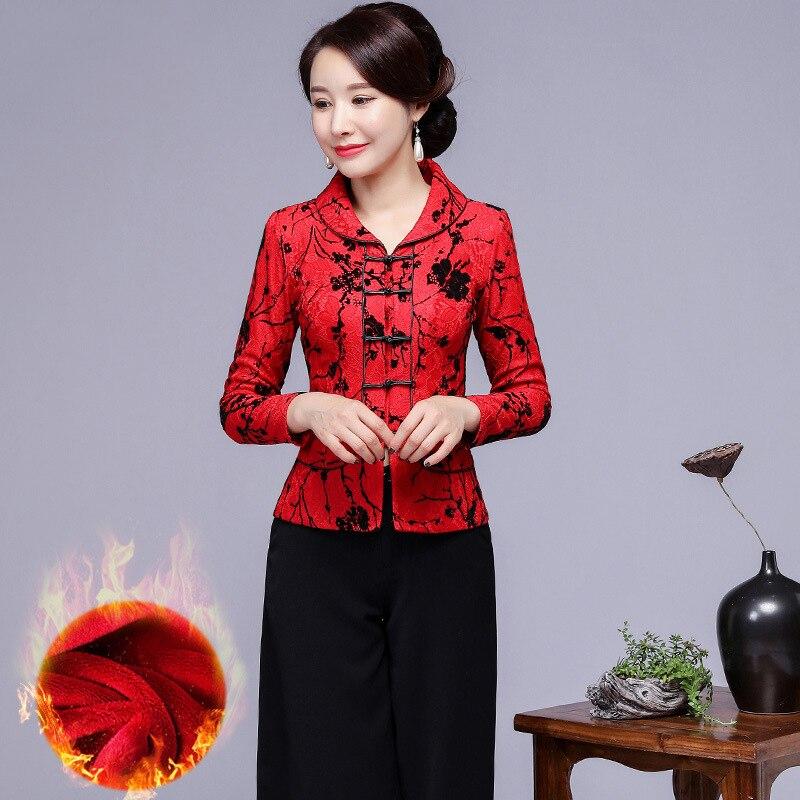Oversize 3XL-5XL hiver chaud femmes chemise Plus velours épais Tang vêtements à manches longues Slim vêtements chinois classique quotidien Blouse