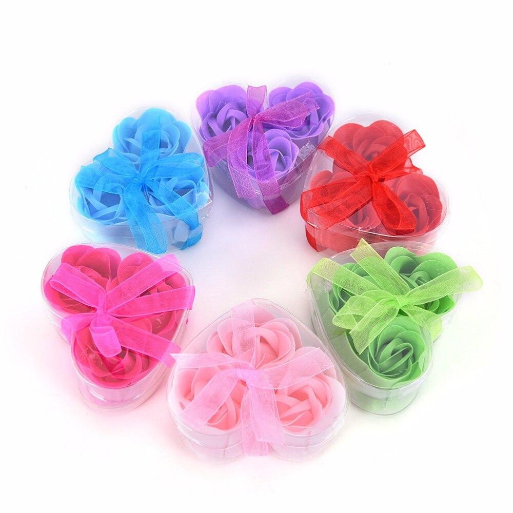 3 шт. Ароматические Роза лепесток Для ванной Средства ухода за кожей Мыло Свадебная вечеринка подарок для вашего хорошего друга