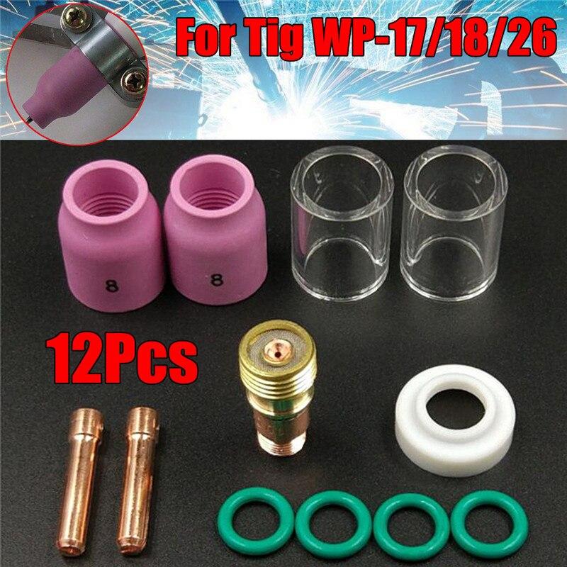 12 Pcs/Set TIG Welding Stubby Gas Lens 10 Pyrex Cup Kit For Tig WP-17/18/26 Welding Torch Welder Torch Accessories