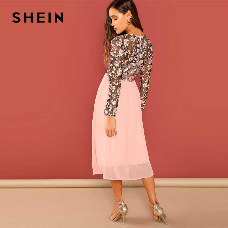 SHEIN выходное розовое цветочное вышитое контрастное Сетчатое лиф с круглым вырезом и высокой талией платье женское ТРАПЕЦИЕВИДНОЕ Длинное Элегантное платье