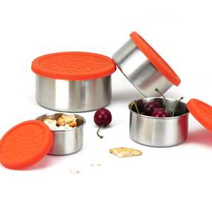 Bowl Snack-Food-Storage-Containers Lunch Foldable Stainless-Steel Metal Leakproof Silicone