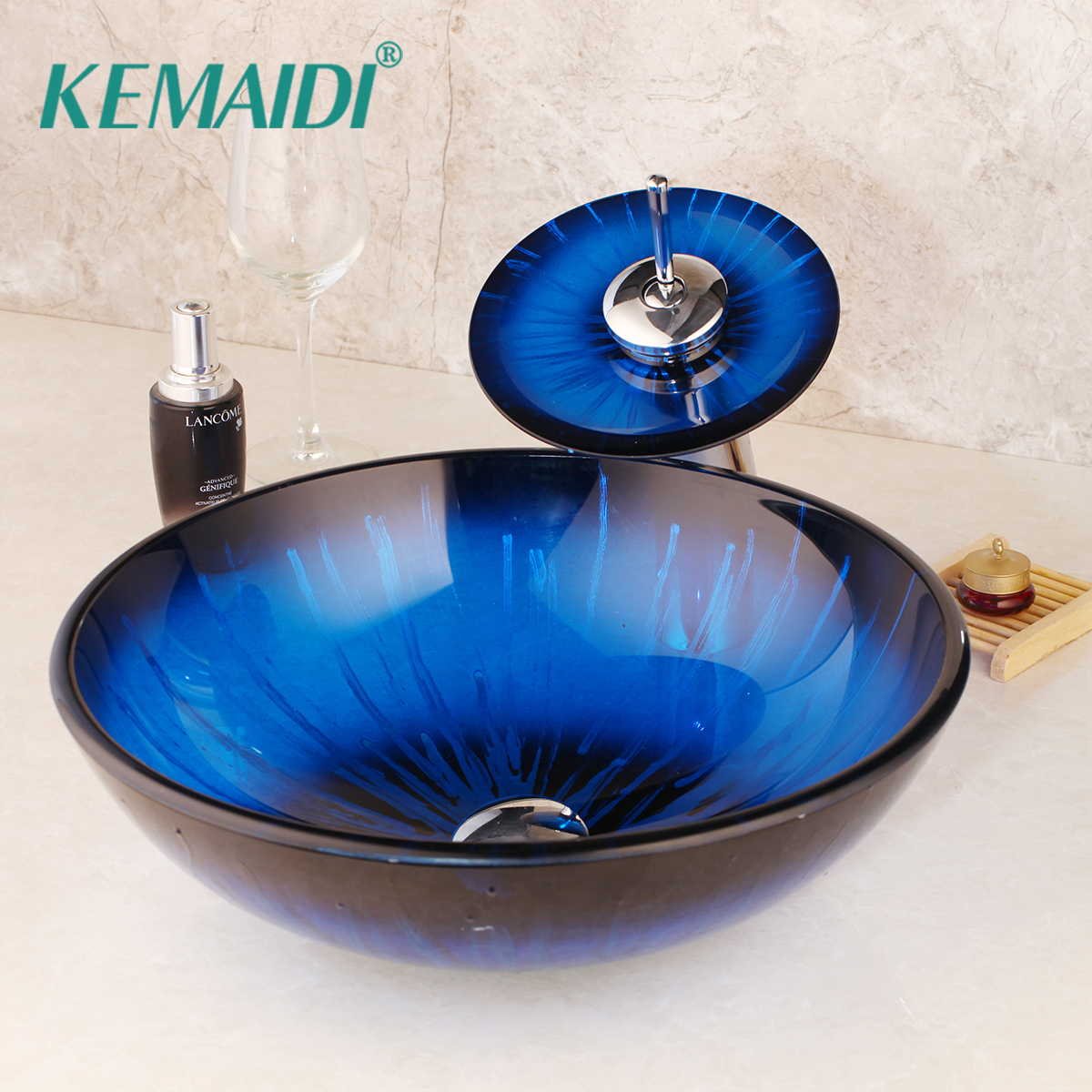 Glass Vessel Bathroom Sinks.Us 109 0 40 Off Kemaidi Stripe Blue Bathroom Sink Transparent Tempered Glass Vessel Sink With Waterfall Faucet Wash Basin Set Round Basin In