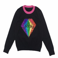 Knitted Pullover Sweater Women Diamond Sequined Letters 2017 Autumn Winter Thermal Patchwork Pull Femme Rabbit Velvet
