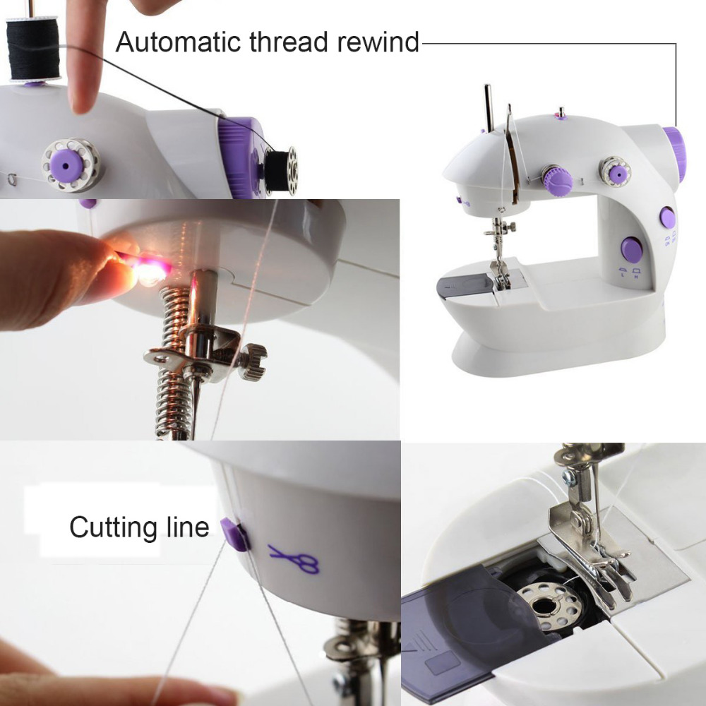 Electric Mini Sewing Machines Portable Knitting Machine Double Threads Motor Dual Speed US EU Plug in Sewing Tools Accessory from Home Garden