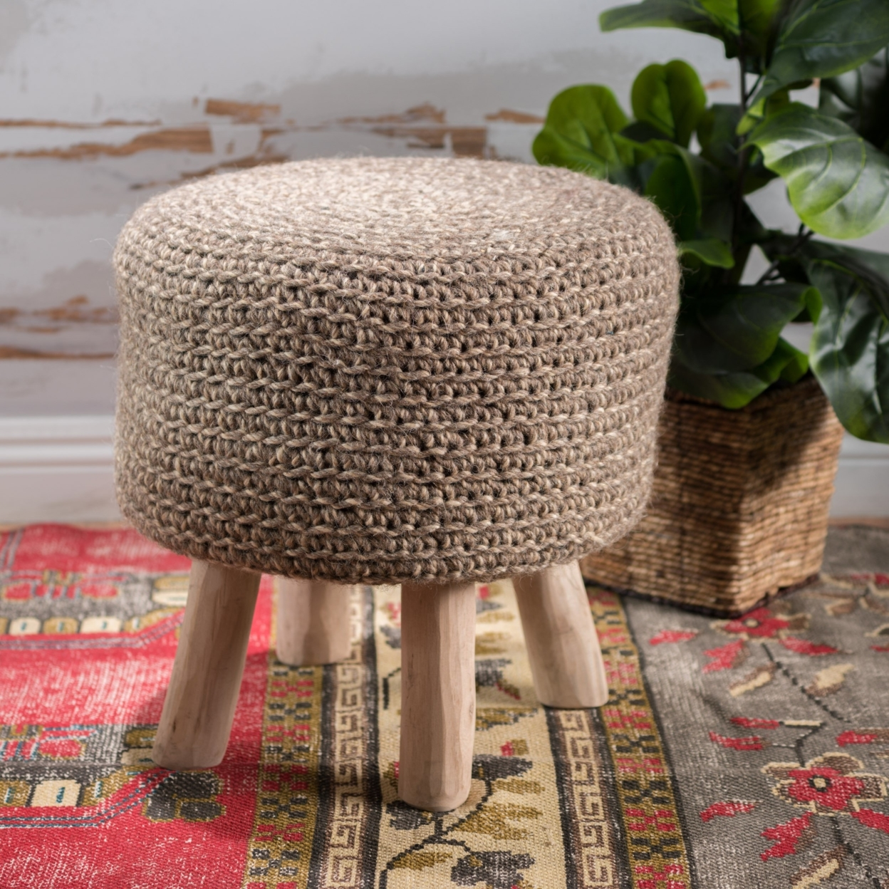 Montague Linen Wool Ottoman Stool 2018 new fashion circular beach bag summer women shoulder bags round shape straw bag boho vintage retro beach handbag