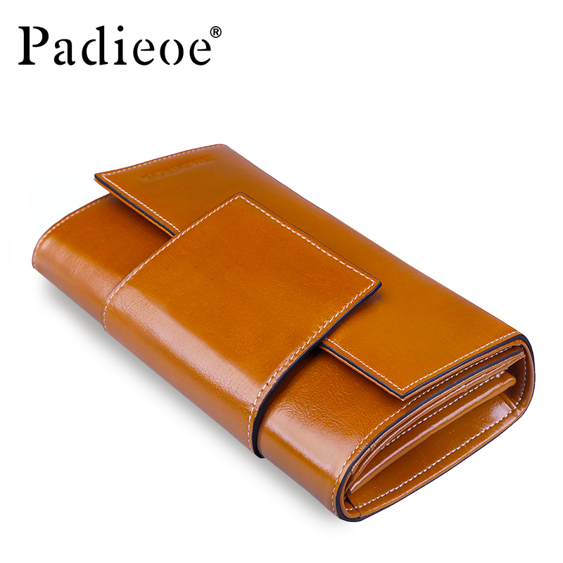 Padieoe Genuine Leather Ladies Purse Wallet Leather Clutches Wallet Famous Brand Women Long Wallet 2018 New Year's Gift for Girl yuanyu 2018 new hot free shipping python leather women purse female long women clutches women wallet more screens women wallet