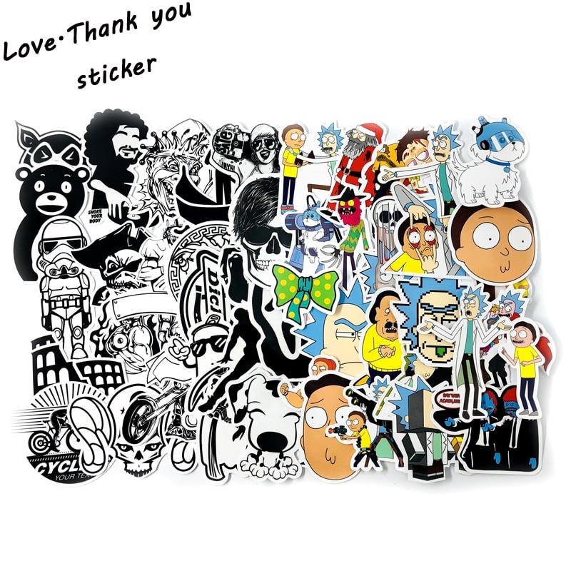95pcs lot35PCS Rick and Morty 60PCS Black and White Stickers Waterproof PVC Fashion Laptop Skateboard Bike