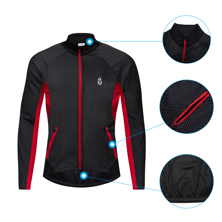WOSAWE Winter Windproof Reflective Cycling Jacket Fleece MTB Bike Jacket Jersey Cycling Clothing Windbreakers with Zip pockets in Cycling Jackets from Sports Entertainment