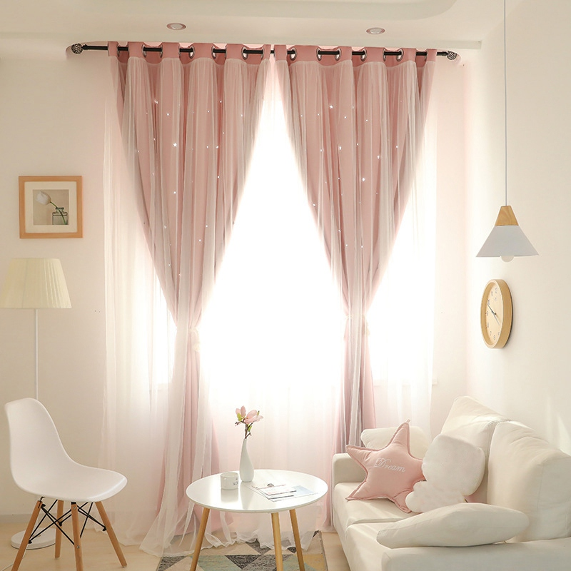 Hot Sale Curtain Blackout Window Drapes Hollow Window Curtain with Tulle Elegant Window Screening Living Room Bedroom Decor(China)