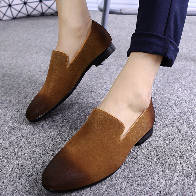 2018 man Shoes Pointed Toe Suede Formal Shoes luxury Brand Wedding Leather Casual Driving Oxfords Loafers