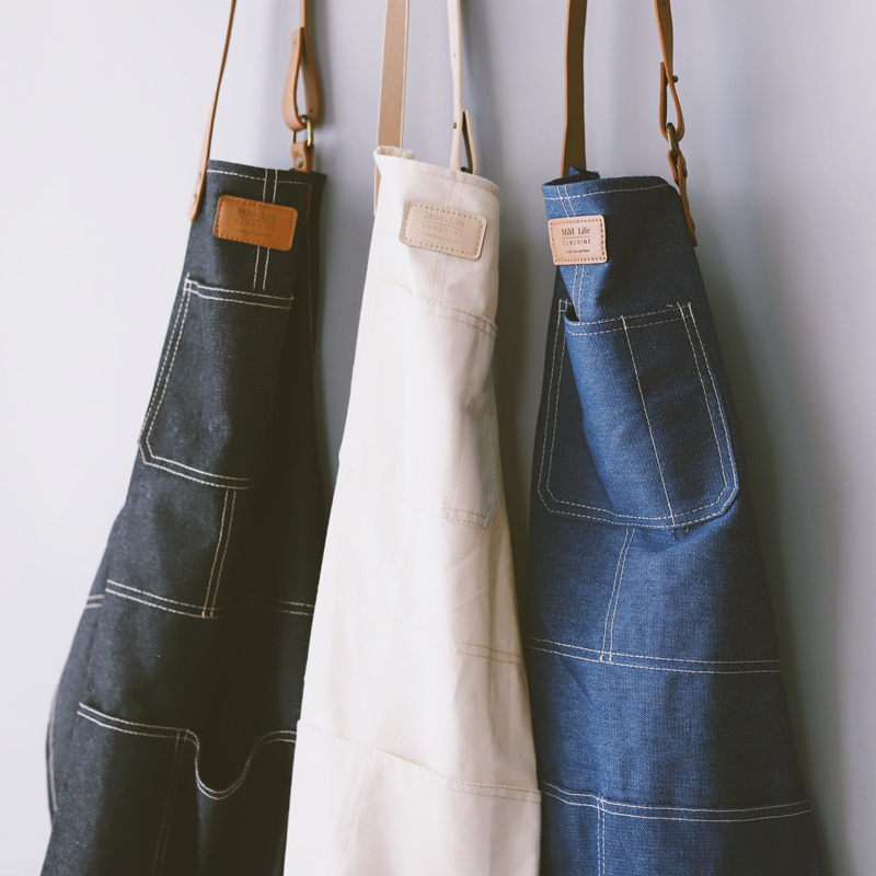Fashion Nordic Style Whole Cotton Unisex Leather Denim Apron Coffee Shops Work Cleaning Aprons For Woman Kitchen Baking Daidle