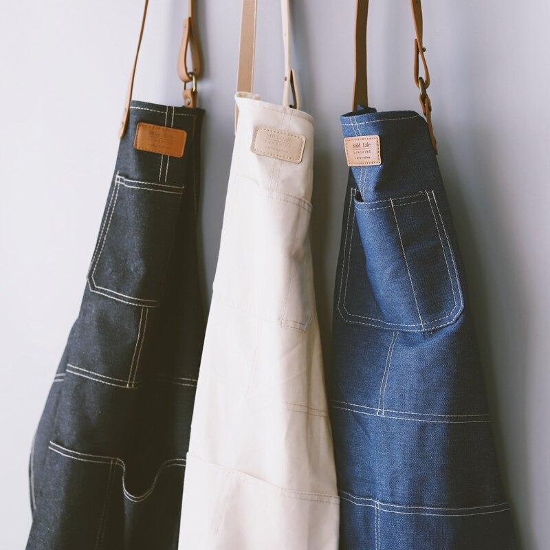 De moda de estilo nórdico todo algodón unisex de cuero delantal denim tiendas de café trabajo limpiando Delantales para mujer de cocina para hornear daidle