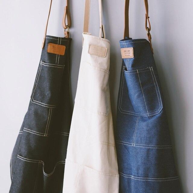 Мода Nordic стиль весь хлопок унисекс кожа джинсовый фартук кофе магазины работы тематические товары про рептилий и земноводных женские фартуки кухня выпечки daidle