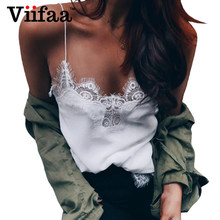 Viifaa Summer time Lace Camisole Girls Satin Crop High White Shirt Horny V Neck Bralette Tank Tops Femme