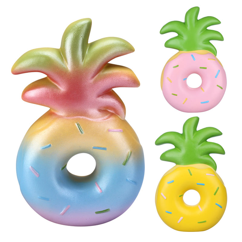 1PC trgovina na drobno vlampo ananas krof Squishy 16CM počasi naraščajoče lupinaste igrače mavrica roza rumeno rumeno licencirana originalna PU pena