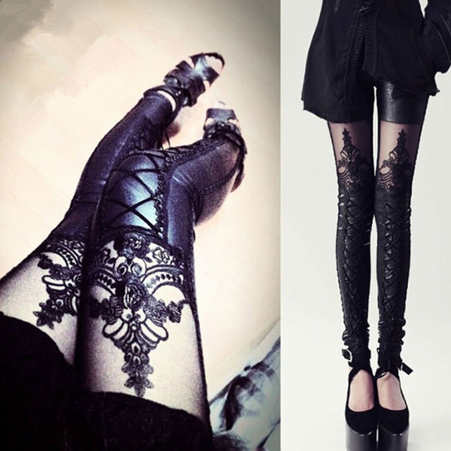 2016 Lace Leather Leggings Punk Rock Women PU Fitness Workout  Bodybuilding Elastic Jeggings Pencil Pants Black Leggins DYA07