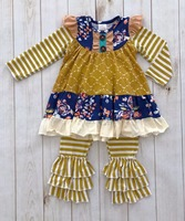 Baby Girls Sring Winter Clothes Girls Boutique Navy Floral Outfits Kids Mermaid Top With Stripes Pants