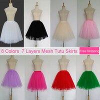 7 Layers 8 Colors Tulle Skirt Summer Style Pleated Womens Adult Tutu Faldas Saias Femininas High