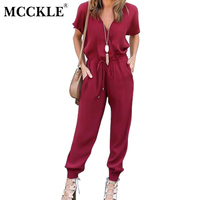MCCKLE Sexy Short Sleeve Office Women Jumpsuit V Neck Tied Waist Summer Romper Pockets Coveralls 2017