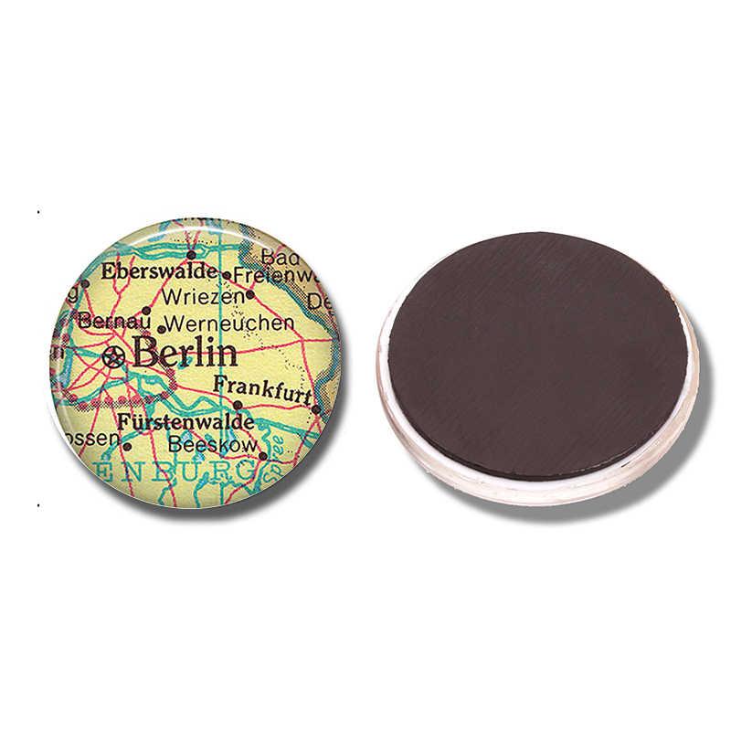 Berlijn Kaart 30 MM Magneet Frankfurt Duitsland Kaart Glas Cabochon Magnetische Koelkast Stickers Note Holder Home Decoratie