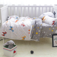 3 Pcs 100%Cotton Crib Bed Linen Kit Cartoon Baby Bedding Set Includes Pillowcase Bed Sheet Duvet Cover Without Filler