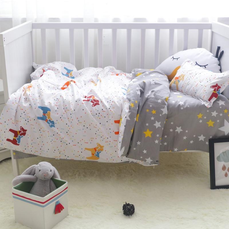 3 pièces 100% Coton Lit linge de lit Kit de Bande Dessinée Bébé parure de lit Comprend Taie D'oreiller drap de lit housse de couette Sans Charge