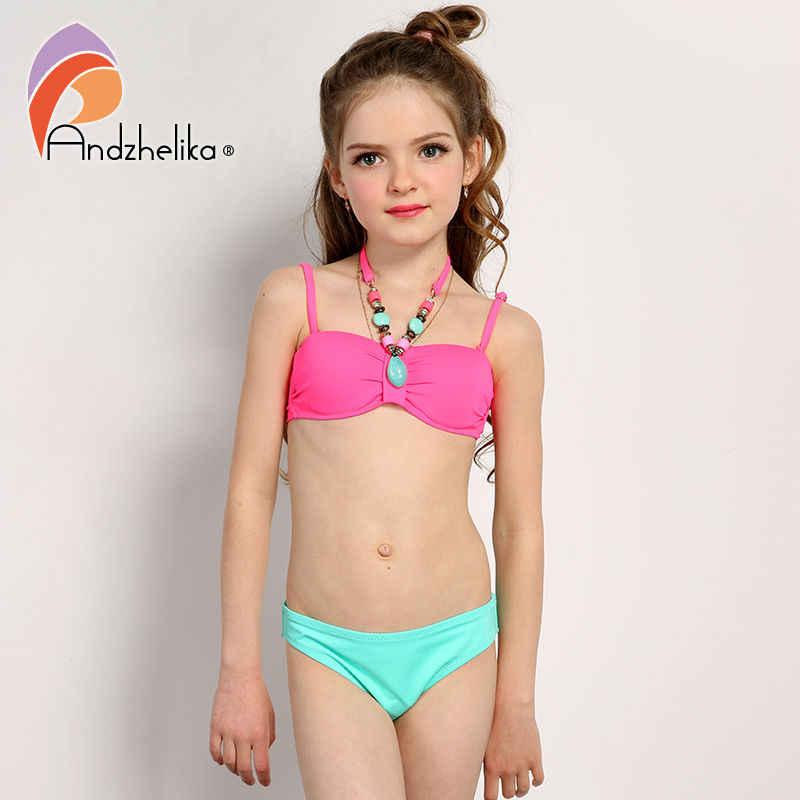 05c51ee1ef ... Andzhelika 2018 Summer Children s Swimwear Decoration Neck Girls Bikinis  Set Push up Swimming Suit Kid Bathing ...